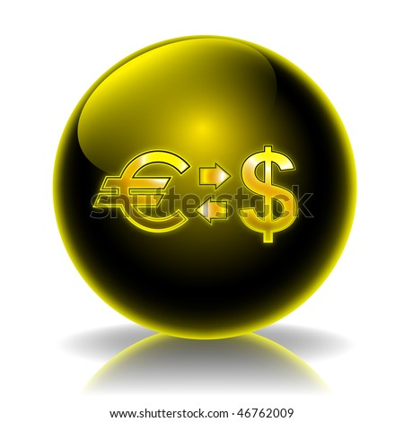 Currency exchange glossy icon - stock photo