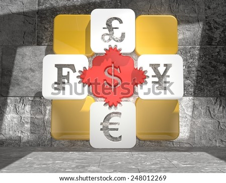 currency exchange puzzle with in concrete room interior - stock photo