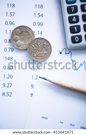 currency exchange rate symbol concept with coins - stock photo