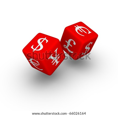 currency exchange red dice icon - stock photo