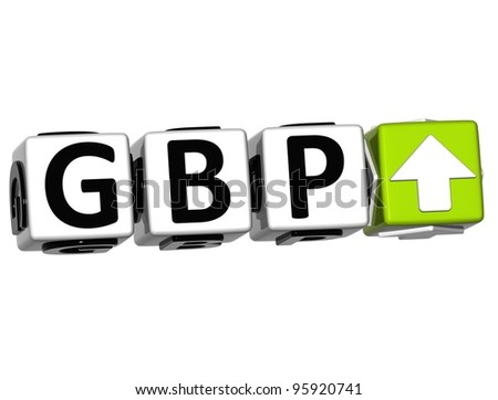 Currency GBP rate concept symbol button on white background - stock photo