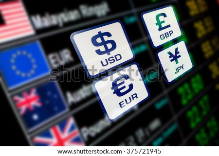 currency icons signs exchange rate on digital display board blurred background