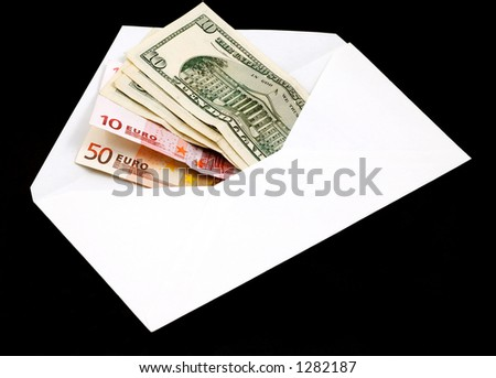 currency in envelope - stock photo