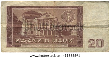 Currency, 20 Mark, GDR, German Democratic Republic, National Theater Weimar