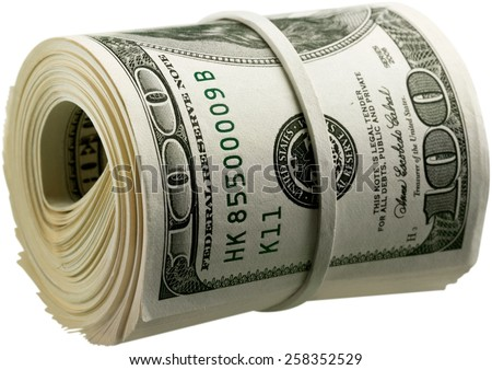 Currency, Money Roll, Wealth. - stock photo