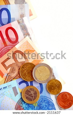 Currency of European union  bills and coins
