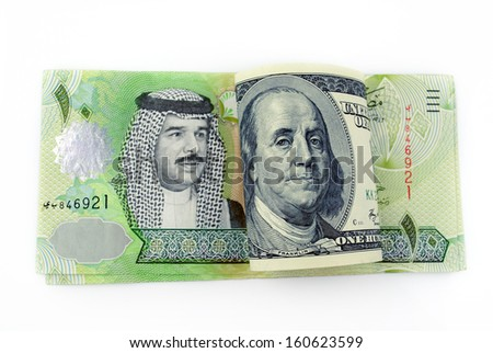 Currency of the US America with the Kingdom of Bahrain on white background
