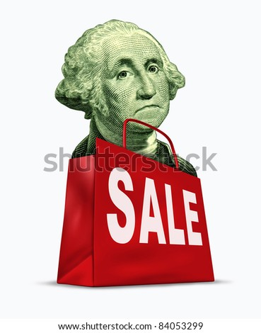 Currency on sale by the devaluation of the dollar in relation to the world recession  and U.S. economy represented by a vintage character of George Washington in a shopping bag showing bargain prices. - stock photo