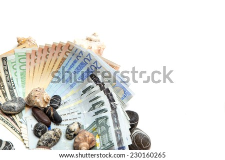 Currency on white background isolated - stock photo