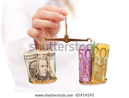 Currency rate risk concept - woman hand with euro and dollar on ...