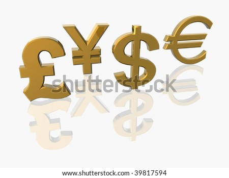 Currency signs isolated on white. 3D render.
