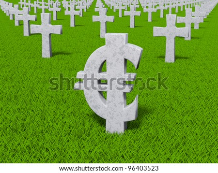 currency symbol in the form of gravestones