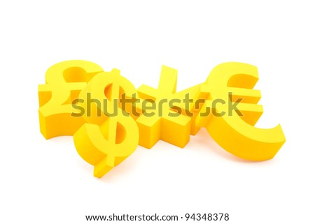 Currency symbols - stock photo