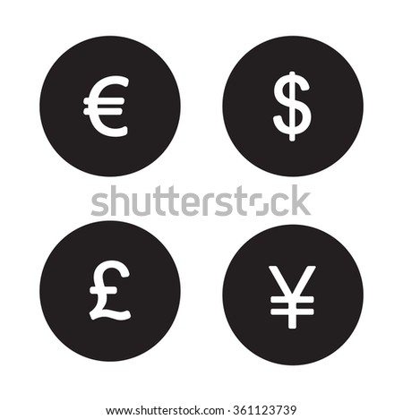 Currency symbols black icons set. Money signs white silhouettes illustrations isolated on circles. Usa dollar and Great Britain pound. Japanese yen and Europe euro emblem Raster infographics elements - stock photo