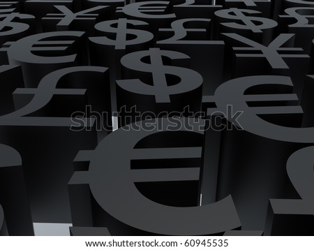 Currency symbols. 3d illustration. High resolution image. Symbols black. - stock photo