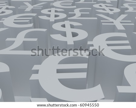Currency symbols. 3d illustration. High resolution image. Symbols white. - stock photo
