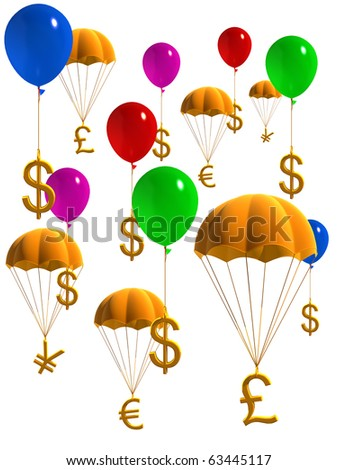 currency symbols in balloons and parachute