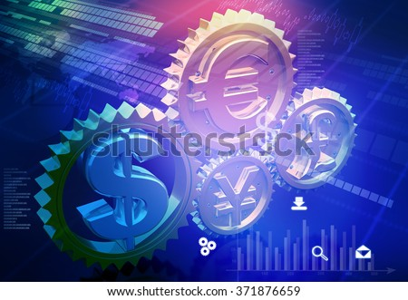 Currency symbols in gear mechanism. Financial background	 - stock photo