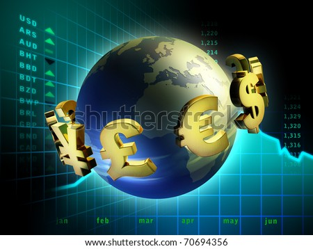 Currency symbols moving around planet Earth. Digital illustration. - stock photo