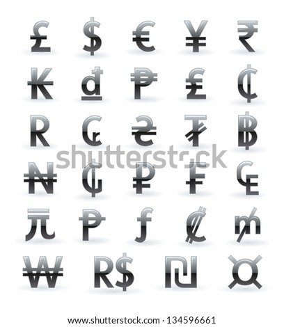 Currency symbols of the world - stock photo