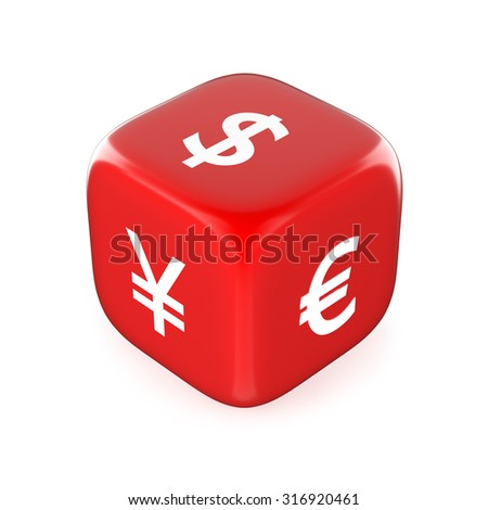Currency Symbols on Red Dice. Exchange Rate concept - stock photo