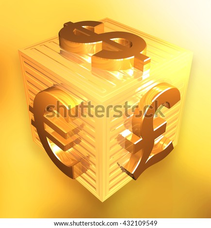 Currency symbols set on a golden box surface with background - 3d illustration - stock photo