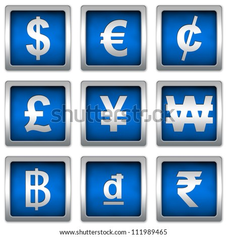 Currency Symbols Set on Square Blue Metallic With Silver Border Plate Isolated on White Background - stock photo