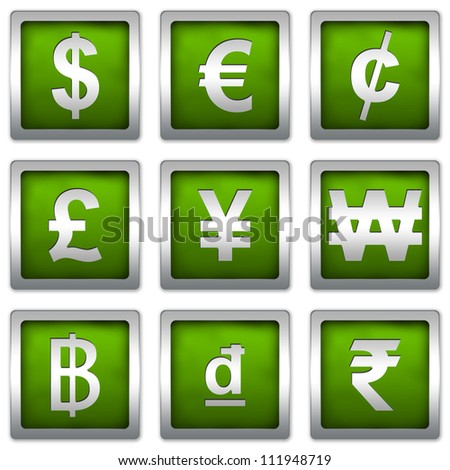 Currency Symbols Set on Square Green Metallic With Silver Border Plate Isolated on White Background - stock photo