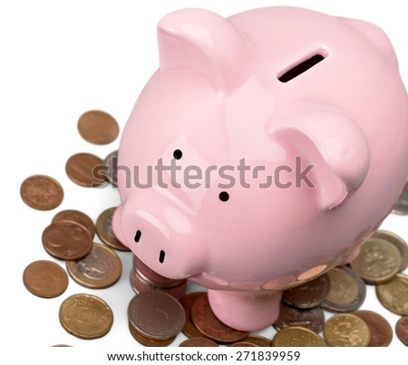 Currency, Time, Pig. - stock photo