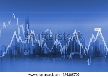 Currency Trading Background with Graph Stats and Modern Cityscape in the Background.  - stock photo