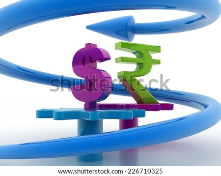 currency with gear rotating  arrow stock image - stock photo