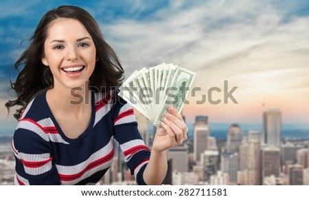 Currency, Women, Savings. - stock photo