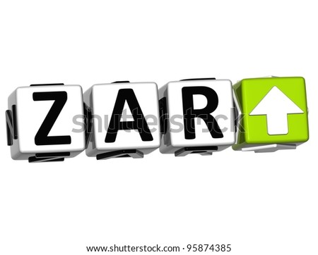Currency ZAR rate concept symbol button on white background - stock photo