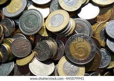current polish coins top view closeup - stock photo