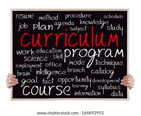 curriculum  and other related words handwritten on blackboard with hands - stock photo