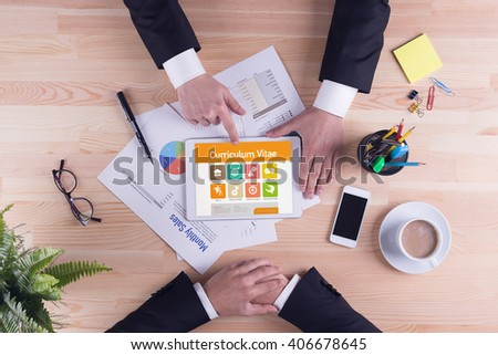 Curriculum Vitae screen on the tablet pc - stock photo