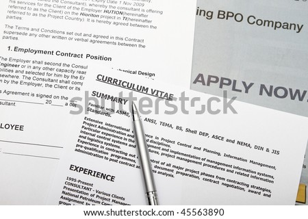 Curriculum vitae with fiction data employment contract. - stock photo