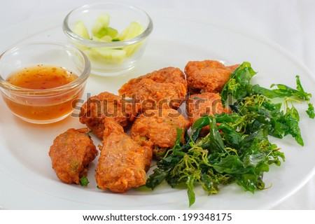 Curried fish cake food