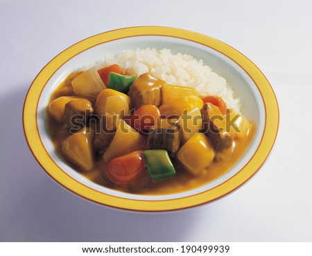 Curry and rice on dish