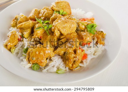 Curry and rice on  white plate. Selective focus - stock photo