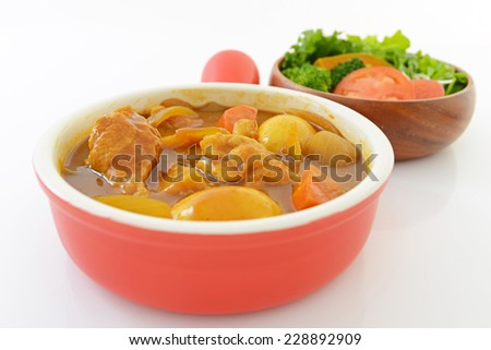 Curry and salad - stock photo