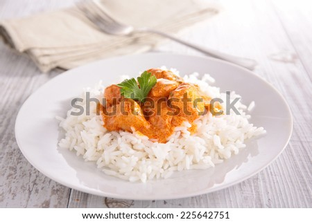 curry chicken and basmati rice - stock photo