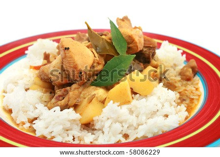 Curry Chicken Rice - stock photo
