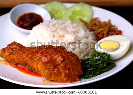 Curry chicken with white rice - stock photo