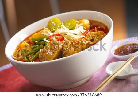 Curry laksa noodle - stock photo