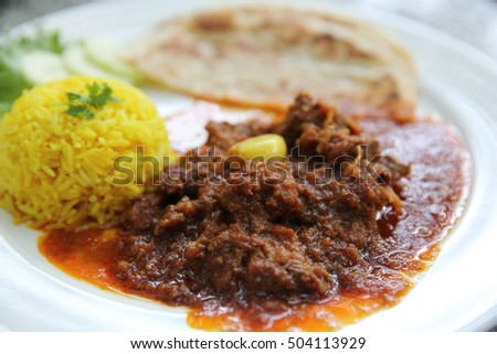 Curry pork with rice , Hinlay curry