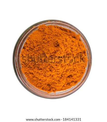 Curry powder in glass container over white background