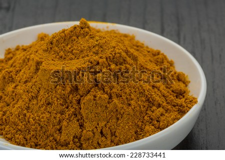 Curry powder in the bowl