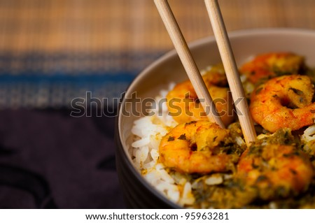 Curry Prawns with rice - Caribbean Tasty food 06 - stock photo