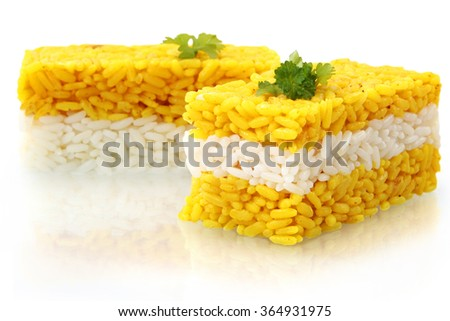 curry rice isolated on white background - stock photo